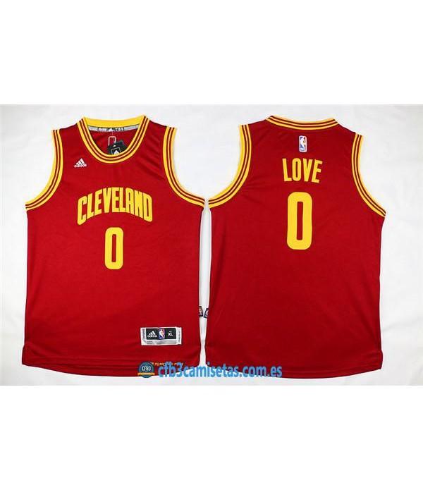 CFB3-Camisetas Kevin Love Roja Amarilla Cleveland CavaliersNIÑOS