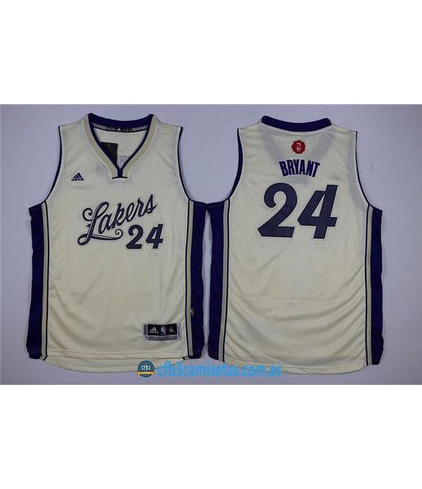 CFB3-Camisetas Kobe Bryant 24 LA Lakers BlancaNIÑ...