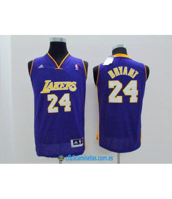 CFB3-Camisetas Kobe Bryant 24 LA Lakers MoradaNIÑ...