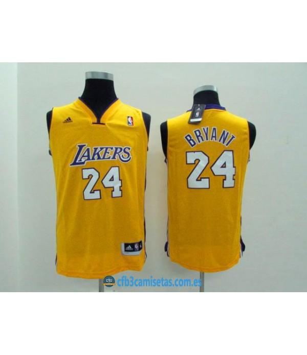 CFB3-Camisetas Kobe Bryant 24 LA Lakers New Amaril...