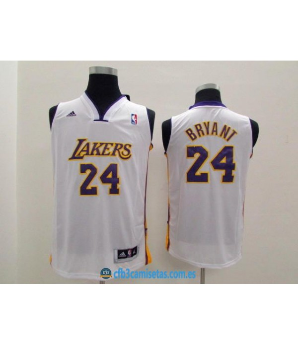 CFB3-Camisetas Kobe Bryant 24 LA Lakers New Blanca...