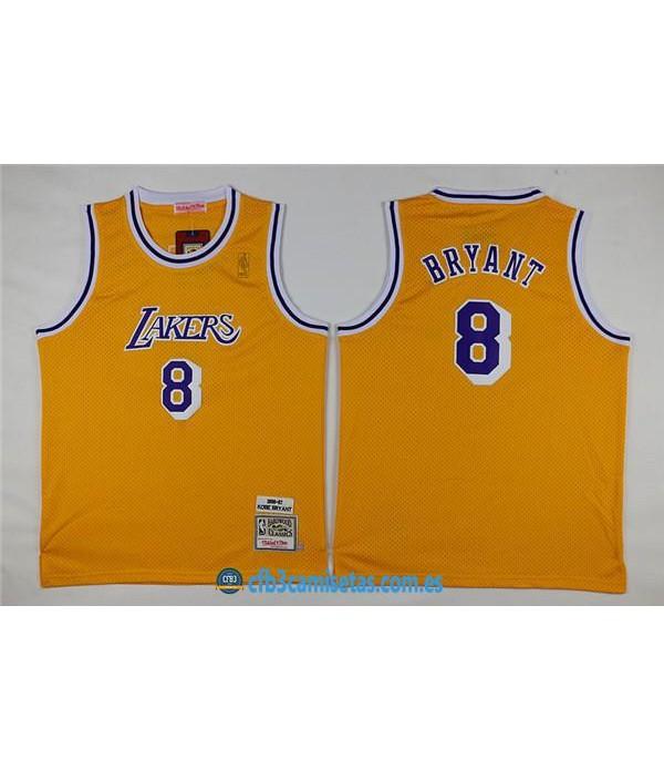 CFB3-Camisetas Kobe Bryant 8 LA Lakers AmarillaNI�...