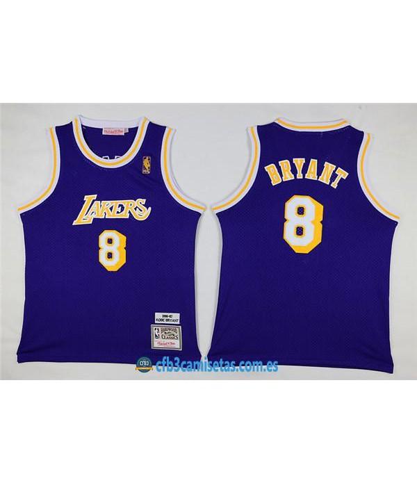 CFB3-Camisetas Kobe Bryant 8 Lakers Morada NIÑOS
