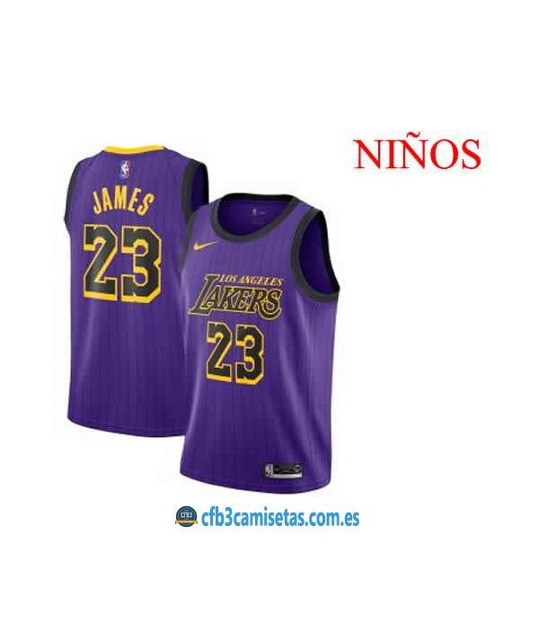 CFB3-Camisetas LeBron James LA Lakers City Edtitio...