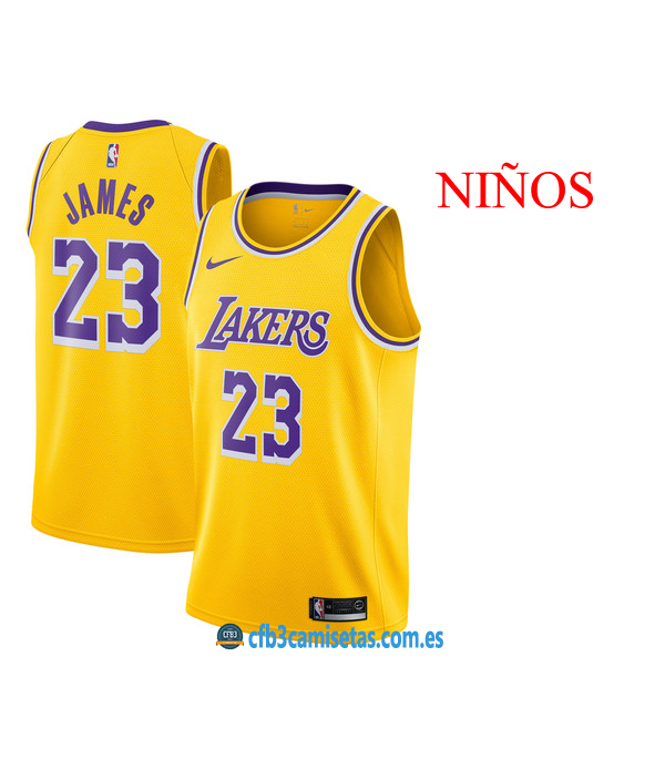 CFB3-Camisetas LeBron James LA Lakers Icon 2019 NI...