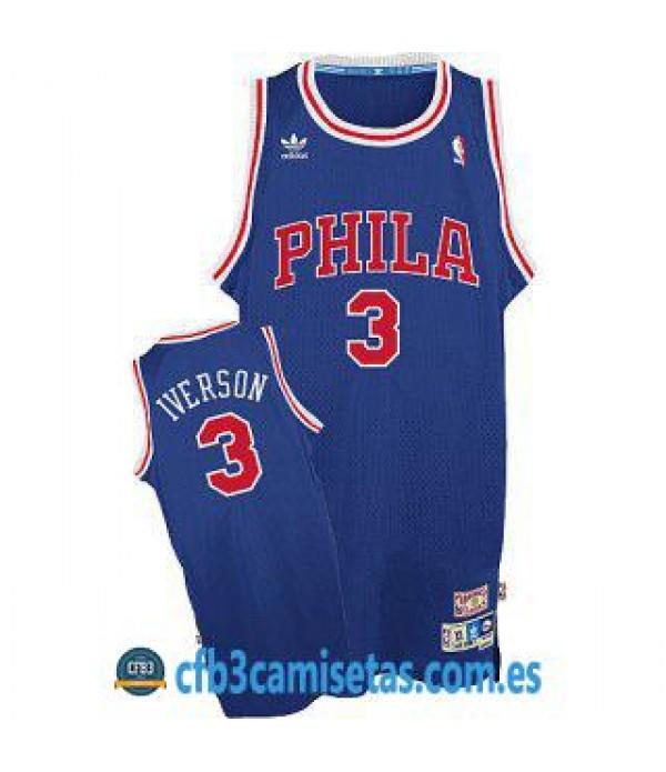 CFB3-Camisetas Allen Iverson Philadelphia 76ers Az...