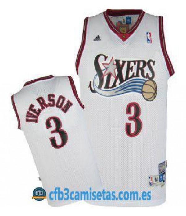 CFB3-Camisetas Allen Iverson Philadelphia 76ers Bl...