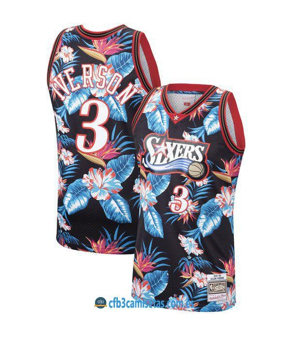 CFB3-Camisetas Allen Iverson Philadelphia 76ers Mi...