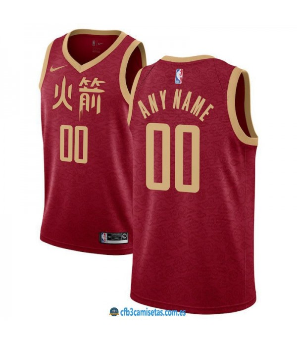CFB3-Camisetas Custom Houston Rockets 2018 2019 Ci...
