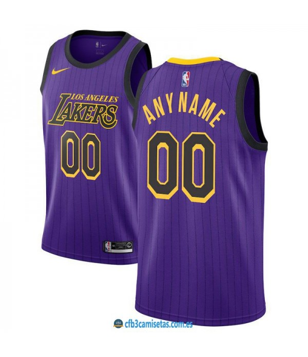 CFB3-Camisetas Custom Los Angeles Lakers 2018 2019...