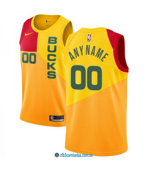 CFB3-Camisetas Custom Milwaukee Bucks 2018 2019 Ci...