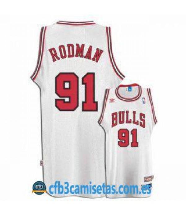 CFB3-Camisetas Dennis Rodman Chicago Bulls Blanca