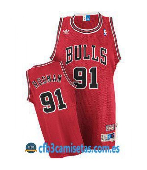 CFB3-Camisetas Dennis Rodman Chicago Bulls Roja