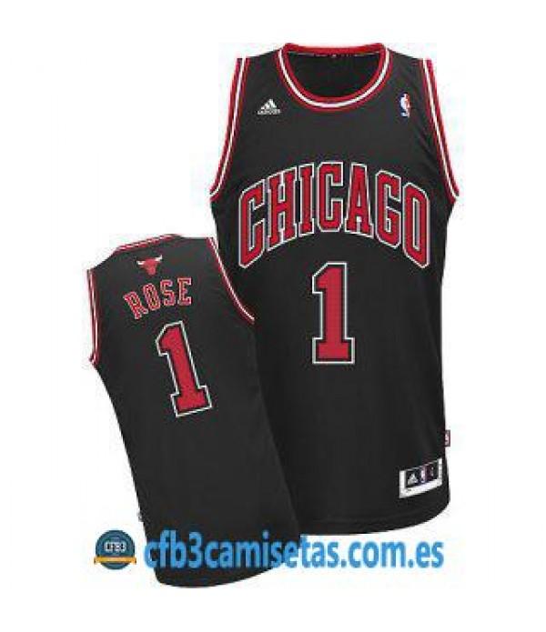 CFB3-Camisetas Derrick Rose Chicago Bulls Negra