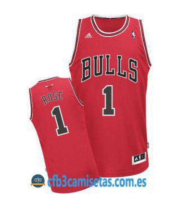 CFB3-Camisetas Derrick Rose Chicago Bulls Roja