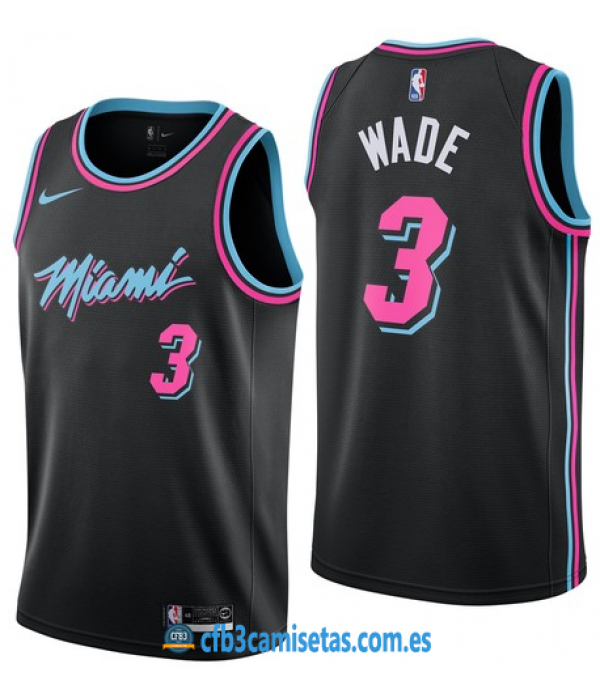 CFB3-Camisetas Dwyane Wade Miami Heat 2018 2019 City Edition