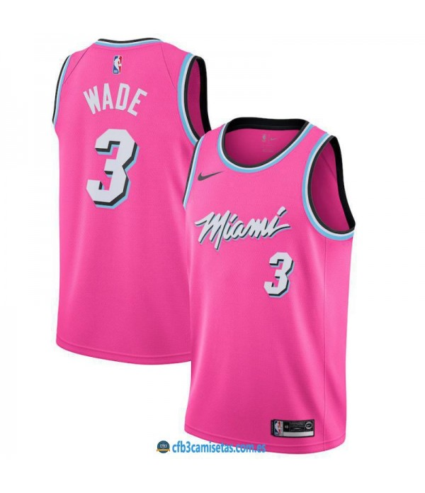 CFB3-Camisetas Dwyane Wade Miami Heat 2018 2019 Earned Edition