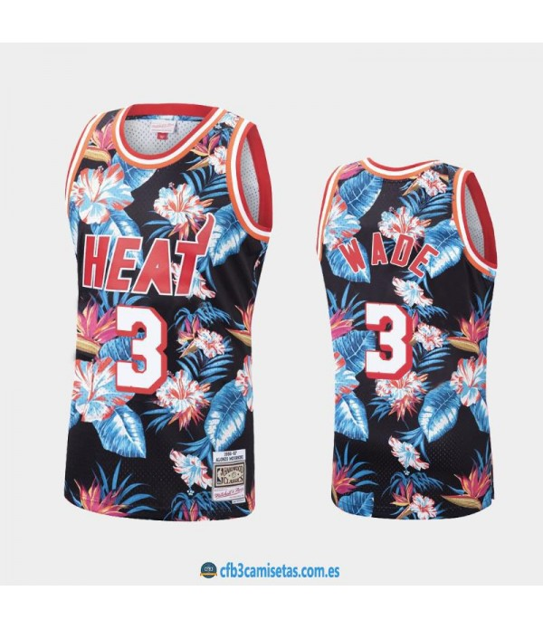 CFB3-Camisetas Dwyane Wade Miami Heat Mitchell &am...