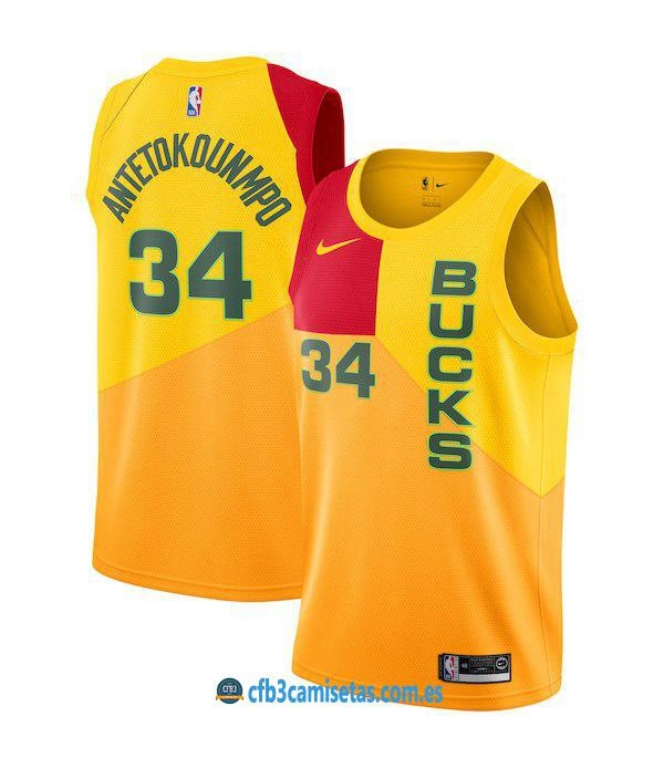 CFB3-Camisetas Giannis Antetokounmpo Milwaukee Bucks 2018 2019 City Edition