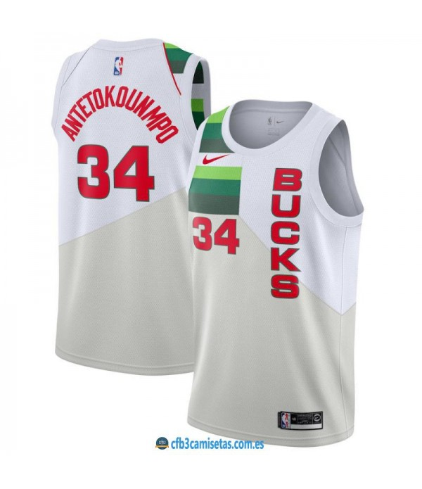 CFB3-Camisetas Giannis Antetokounmpo Milwaukee Bucks 2018 2019 Earned Edition