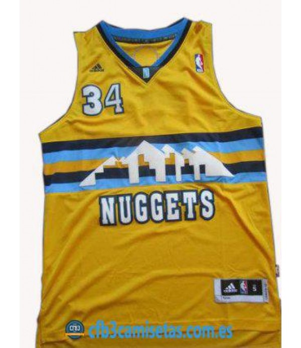 CFB3-Camisetas JaVale McGee Denver Nuggets Amarilla