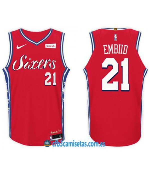 CFB3-Camisetas Joel Embiid Philadelphia 76ers Stat...