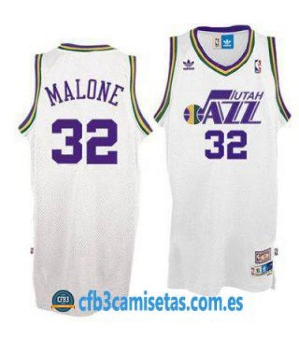 CFB3-Camisetas Karl Malone Utah Jazz Blanca