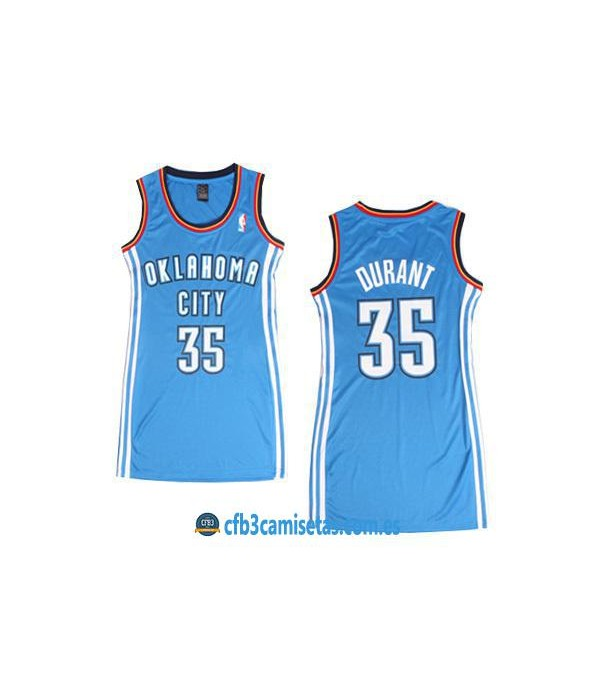 CFB3-Camisetas Kevin Durant OKC Thunder Azul Mujer