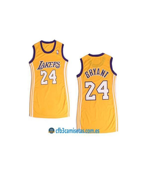 CFB3-Camisetas Kobe Bryant LA Lakers Amarillo Mujer