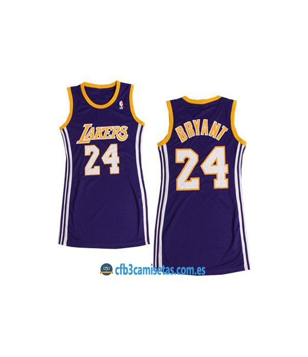 CFB3-Camisetas Kobe Bryant LA Lakers Morado Mujer