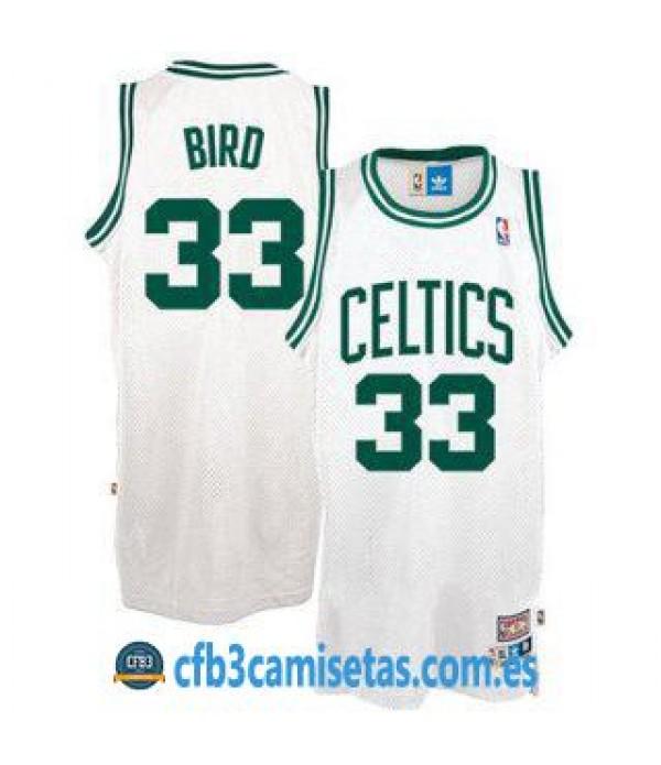 CFB3-Camisetas Larry Bird Boston Celtics Blanca