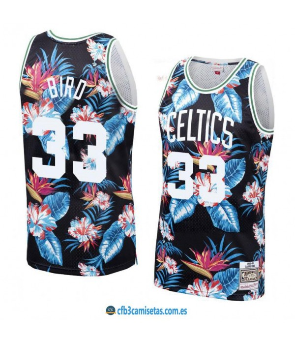 CFB3-Camisetas Larry Bird Boston Celtics Mitchell & Ness Floral Pack