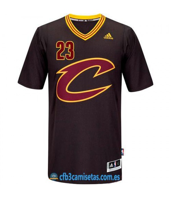 CFB3-Camisetas LeBron James Cleveland Cavaliers Black Sleeve Swingman