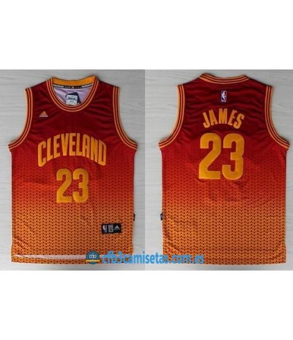 CFB3-Camisetas LeBron James Cleveland Cavaliers Naranja