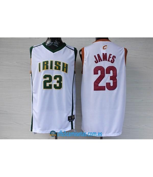 CFB3-Camisetas LeBron James Irish Blanca