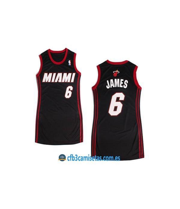 CFB3-Camisetas LeBron James Miami Heat Negro Mujer