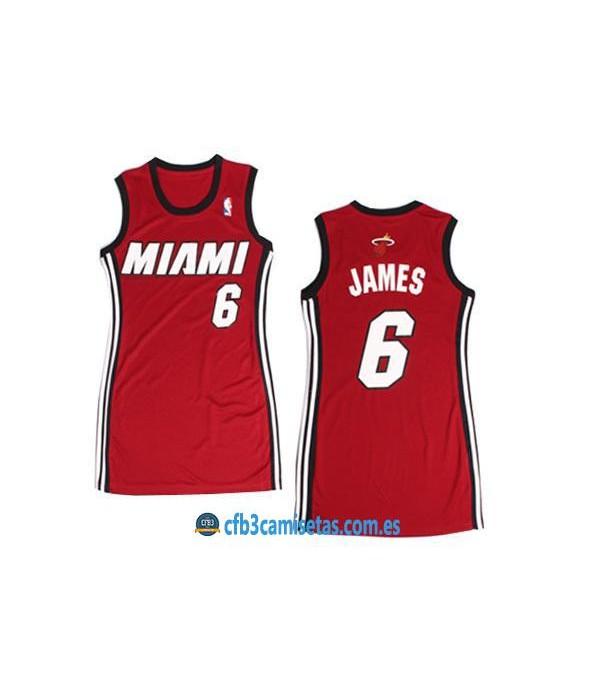CFB3-Camisetas LeBron James Miami Heat Rojo Mujer