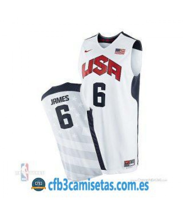 CFB3-Camisetas LeBron James Selección USA 2012 Blanco