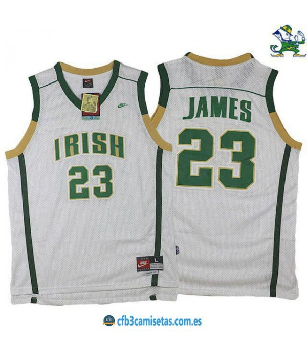 CFB3-Camisetas LeBron James St Vincent St Mary Irish White
