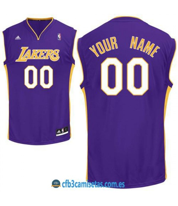 CFB3-Camisetas Los Angeles Lakers Purple PERSONALI...