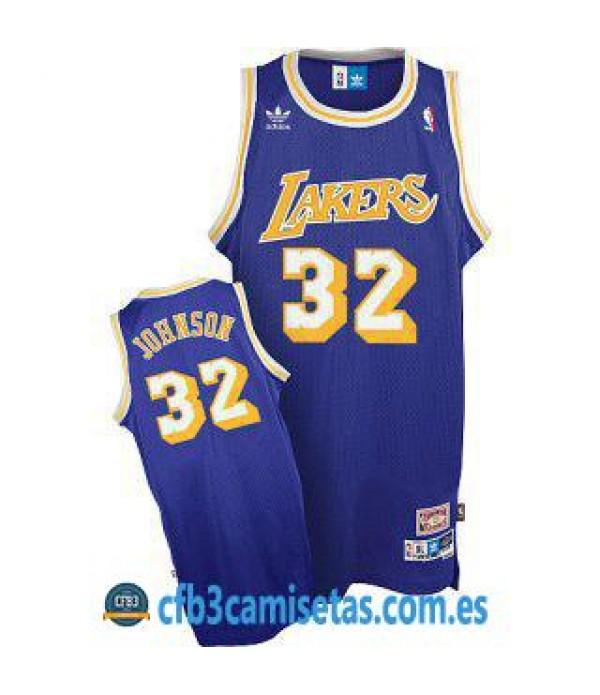 CFB3-Camisetas Magic Johnson Los Angeles Lakers So...
