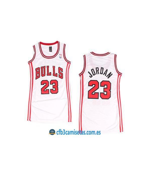 CFB3-Camisetas Michael Jordan Chicago Bulls Blanca Mujer