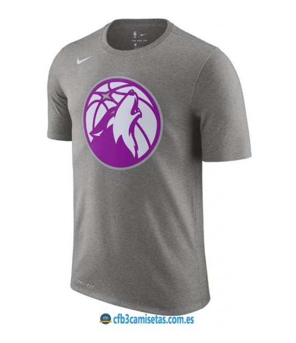 CFB3-Camisetas NoName Minnesota Timberwolves Sleeve Edition Gris