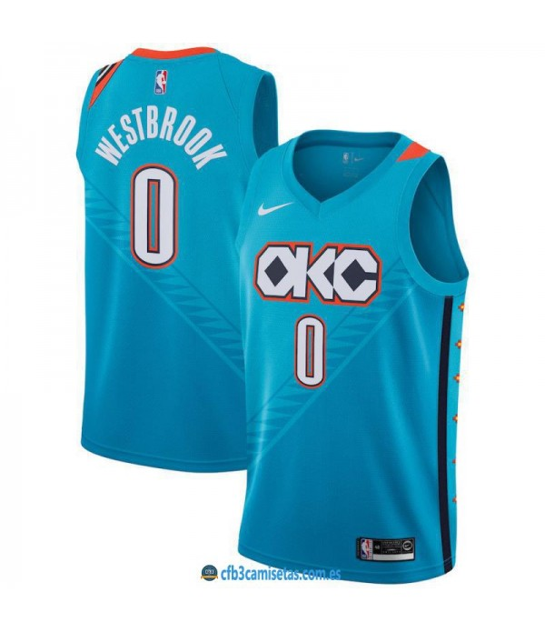 CFB3-Camisetas Russell Westbrook Oklahoma City Thunder 2018 2019 City Edition