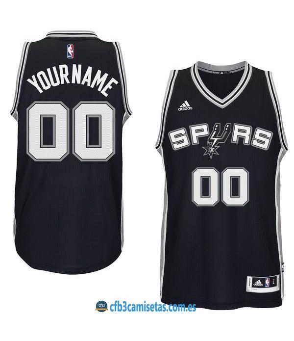 CFB3-Camisetas San Antonio Spurs Black PERSONALIZABLE
