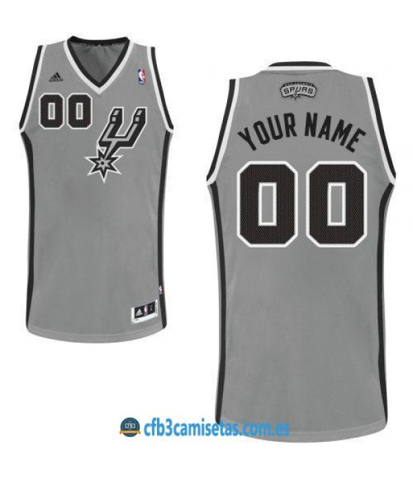 CFB3-Camisetas San Antonio Spurs Grey PERSONALIZABLE