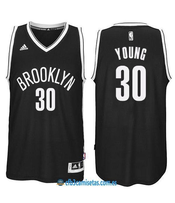 CFB3-Camisetas Thaddeus Young Brooklyn Nets Black