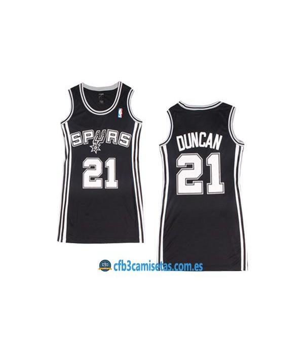 CFB3-Camisetas Tim Duncan San Antonio Spurs Negra Mujer
