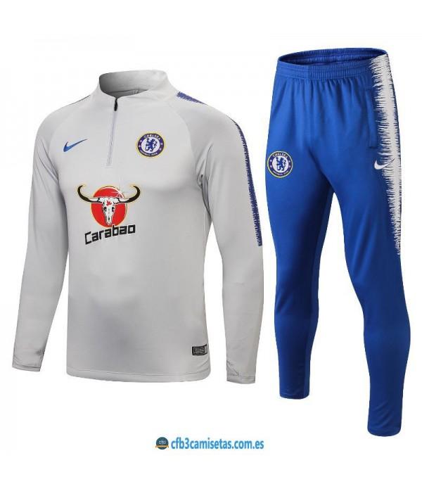 CFB3-Camisetas Chándal Chelsea 2018 2019 Gris