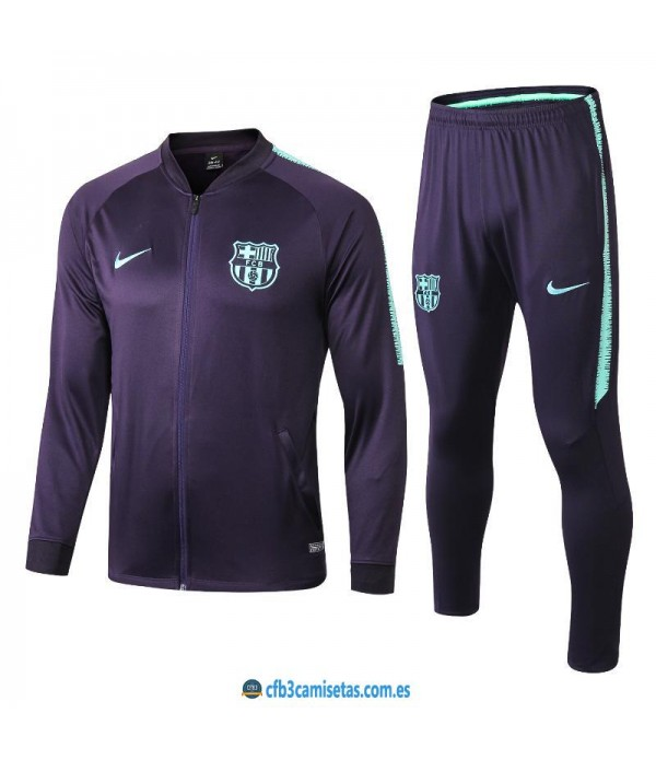 CFB3-Camisetas Chándal FC Barcelona 2018 2019 Azul Marino